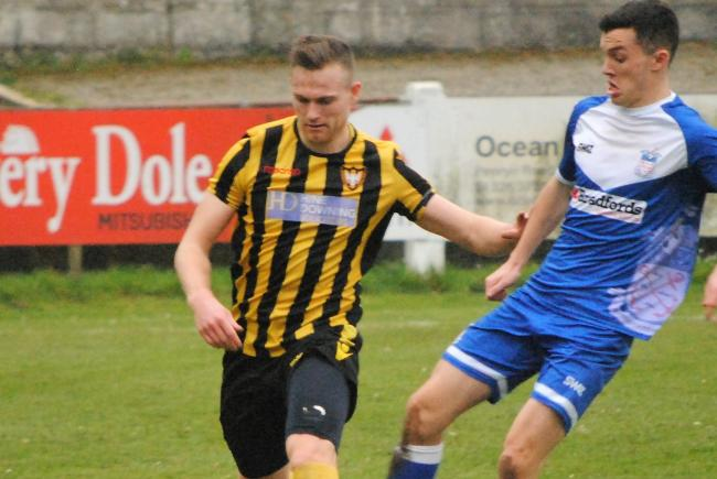 James Ward scored the winning goal in Falmouth's Cornwall Senior Cup victory over Saltash United in April