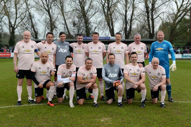 STARS: The Manchester United Legends team which played at Taunton Town FC earlier this year. Pic: Aisling Magill
