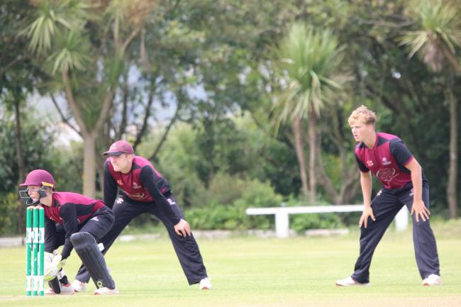 Bunbury cricket invitation for King's trioJames Rew (keeper), Charlie Sharland and George Thomas playing for Somerset Under 15s in their victory over Cornwall at Perranporth wk 29.jpg