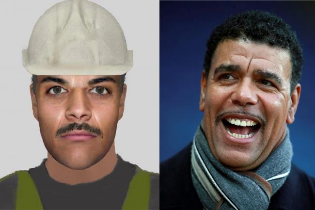 A police e-fit image of a suspect and a picture of Chris Kamara