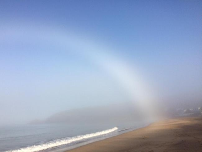 The white rainbow captured at Praa Sands by Lorna Loveday