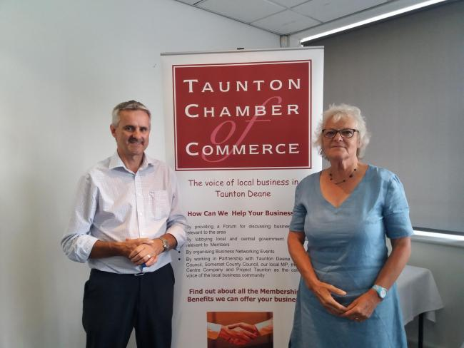 POSITIVE: Colin Barrell and Lucy Ball at the launch of the Taunton BID at The Cooper Associates County Ground, where more than 60 business representatives heard about what a BID would involve and how it could improve the town