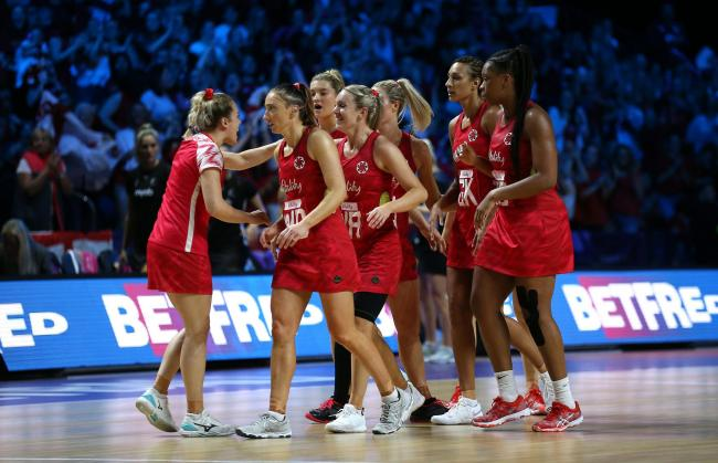 England players at half time against New Zealand during the Netball World Cup match at the M&S Bank Arena, Liverpool. PRESS ASSOCIATION Photo. Picture date: Saturday July 20, 2019. See PA story NETBALL England. Photo credit should read: Nigel French/P