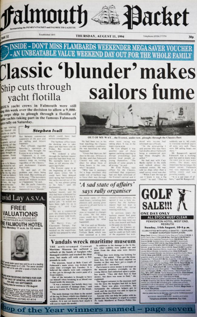 The front page of the Falmouth Packet from August 11 1994