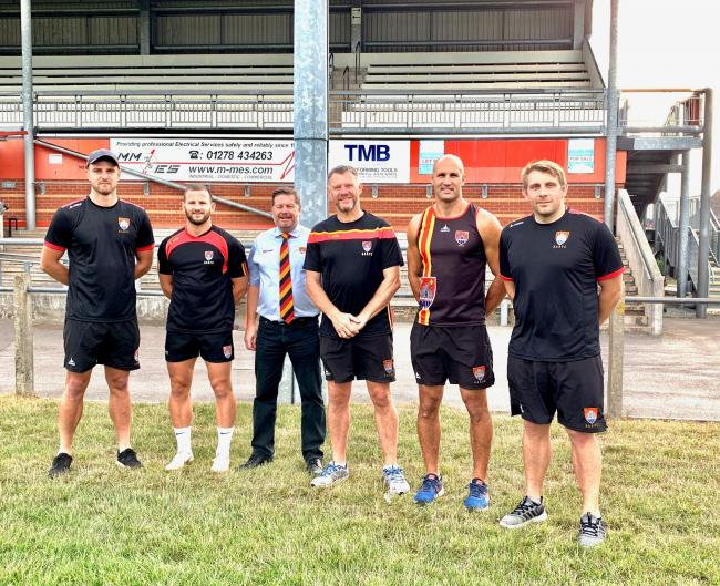 STEPPING UP: Carl Rimmer (pictured far right) is the new head coach at Bridgwater & Albion RFC