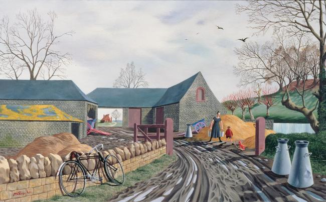 PFA93592 T34102 Barns in Winter, 1943 (oil on panel) by Hillier, Tristram Paul (1905-83); 25.5x40.5 cm; Private Collection; Photo © Bonhams, London, UK; English,  in copyright.PLEASE NOTE: This image is protected by the artist's copyright which