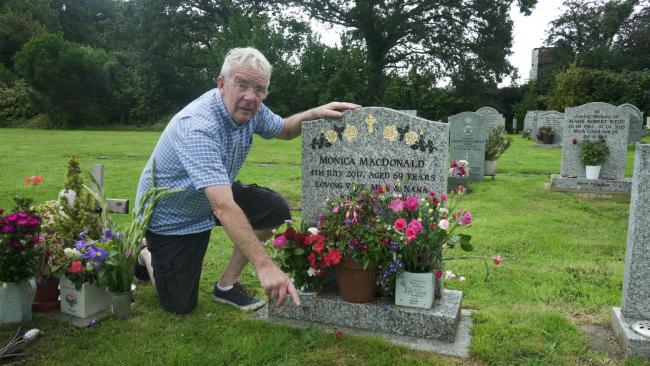 Flowers were stolen from Lionel MacDonald's wife's grave