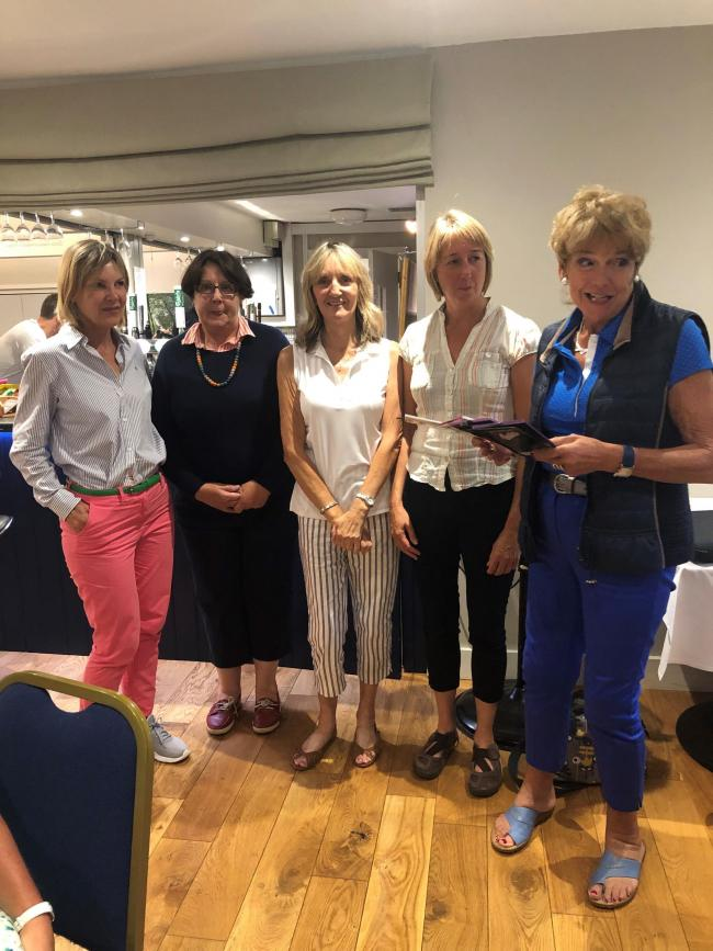 Texas Scramble Team winners left to right Theresa Warren, Mary Close,Jenny Hills and Lyn Page, along with Gwen Cavill (Ladies Section Members rep on the EPGC committee).