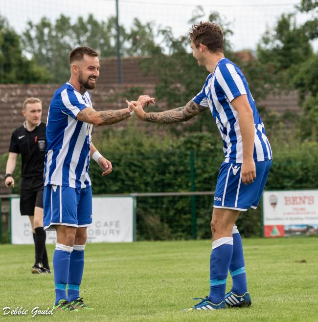 Jack Taylor and Sam Towler celebrate in Bridgwater Town's 8-1 win at Chipping Sodbury. Pic: Debbie Gould