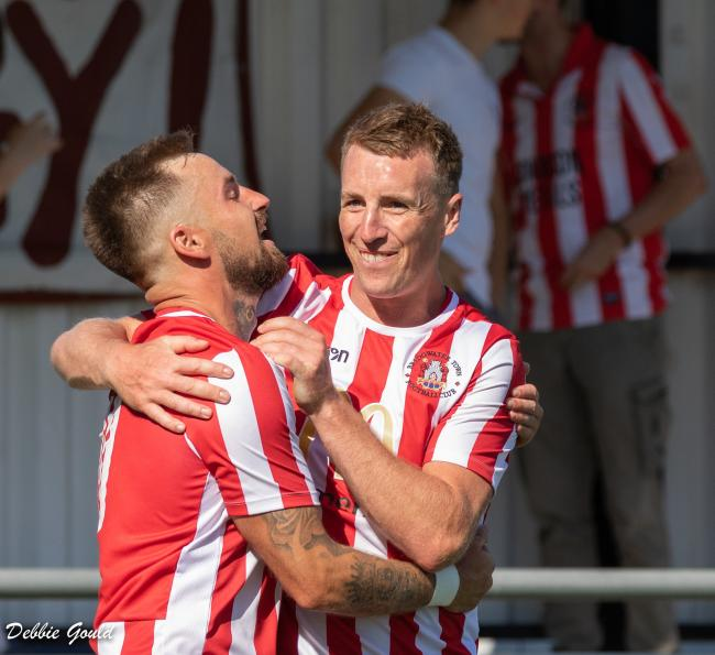 DOUBLE TREBLE: Jack Taylor (left) and Steve Murray, Bridgwater Town's hat-trick heroes against Brislington. Pic: Debbie Gould