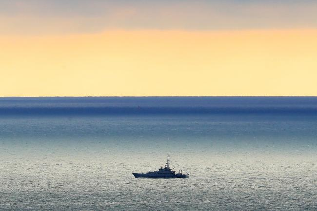 A Border Force cutter on patrol in the Channel near Dover