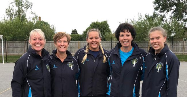 EXPERIENCE: Bridgwater Netball Club coaches 2019/20, pictured from left: Cath Clark (U16s), Hazel Hucker (U14s), Alisha Gardener (senior club coach), Sally Haysham (U12s), Kia Jenner (U14s)