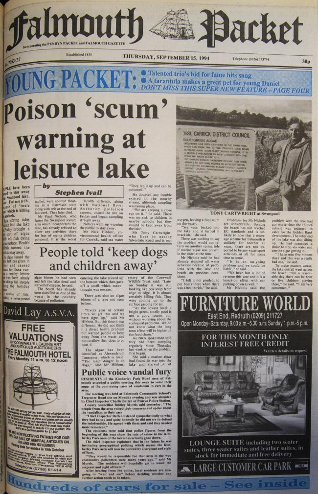 The front page of the Falmouth Packet from September 15 1994