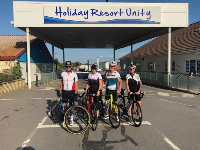 CHALLENGE: The Holiday Resort Unity team with their bikes ahead of the race in Brean