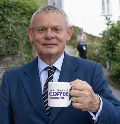 CHEERS: Martin Clunes urges people to back Coffee Mornings