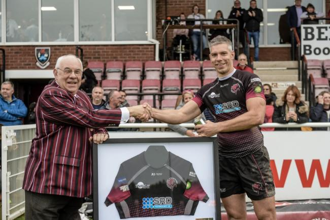LANDMARK: Gary Kingdom (right) celebrated reaching 250 games for Taunton Titans last weekend, and is pictured with Taunton RFC president Dick Macey. Pic: Clayton Jane Photography
