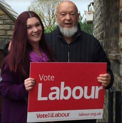 DISCUSSION: Labour candidate Kama McKenzie with Michael Eavis at Worthy Farm