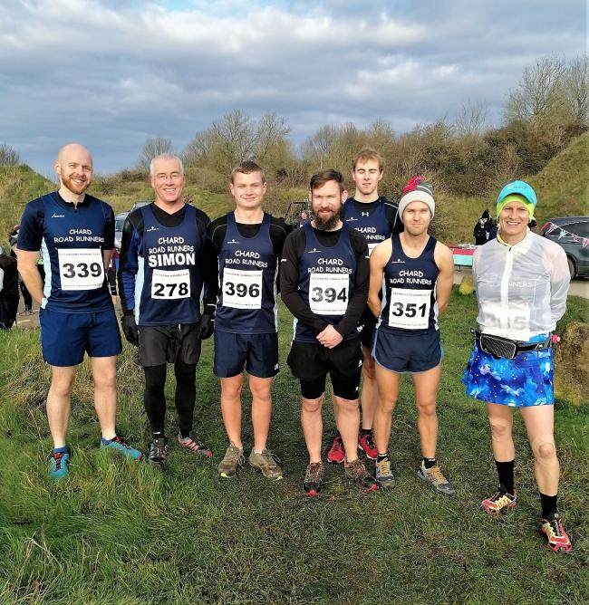 Chard Road Runners at Full Monty-Cute: Liam Whyte, Simon Hall, Jack Dickenson, Philip Goodridge-Reynolds, Steve Barnes, Wayne Loveridge and Helen Baxter (Missing from photo James Ashby)
