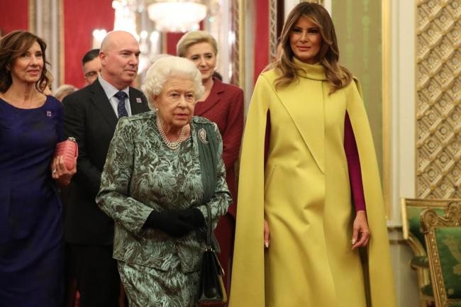 The Queen with Melania Trump during the reception in Buckingham