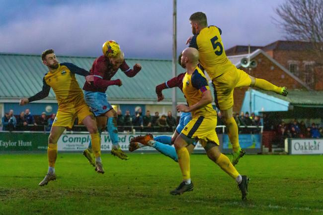 Dan Sullivan heads home the equaliser against Gosport Borough. Pic: Ashley Harris