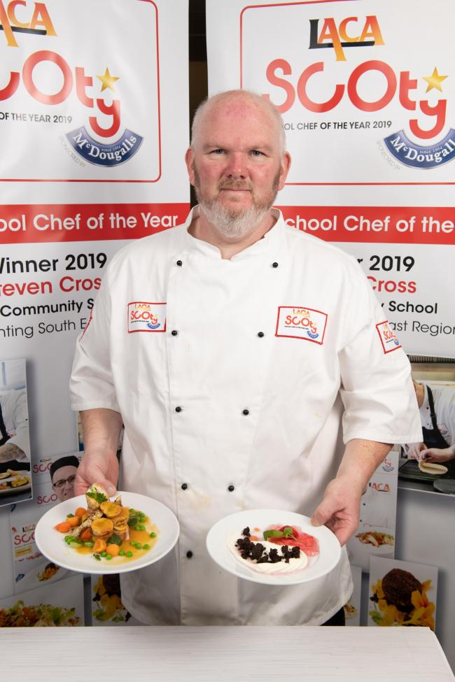 RECOGNITION: Scott Pring with two of his dishes prepared in the cook off