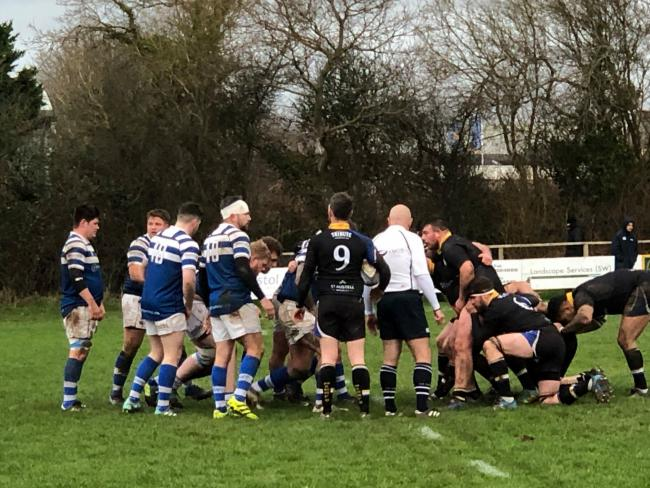 HARD-FOUGHT: Burnham-on-Sea got the job done at Nailsea & Backwell on Saturday. Pic: Sally Flack