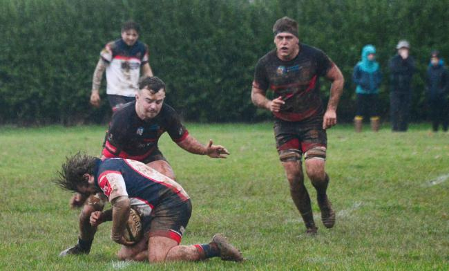 Rugby - Wiveliscombe v Wellington on Boxing Day. Wellington's Alex Davey (black kit). Pic: Steve Richardson.