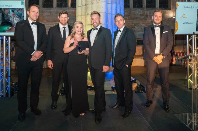 WINNERS: From left: Kai Horstmann and Greg Holmes from Exeter Chiefs, Becca Burne and Craig Attmere (instructors at Wild Wookey), David Collins from Global (sponsors of the category), and Thomas Chatres-Moore, MC for the evening. PICTURE: Nick Williams
