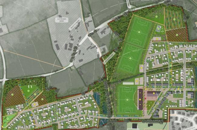 DEVELOPMENT: The Mount Hindrance plans, which include 295 homes and a football pitch