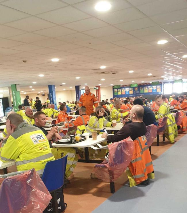 SOCIAL DISTANCING: Workers in the canteen at Hinkley Popint