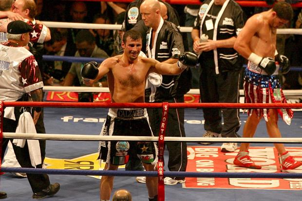 Joe Calzaghe celebrates his win over Peter Manfredo