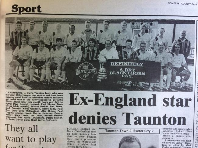 REIGNING CHAMPIONS: Taunton Town's squad in 1996/97