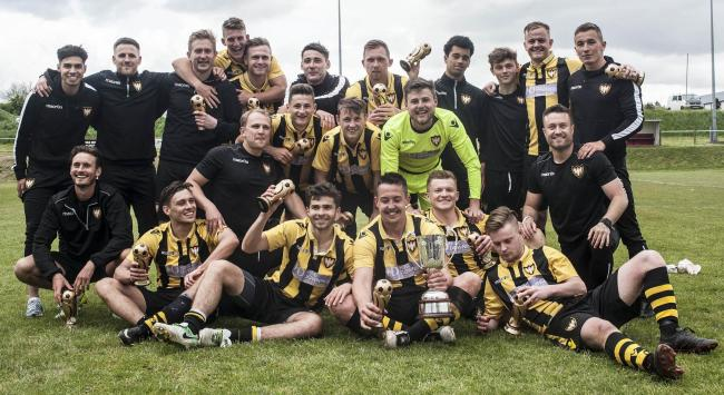Falmouth Town versus The victorious Falmouth Town team of 2018.  Picture by Colin Higgs
