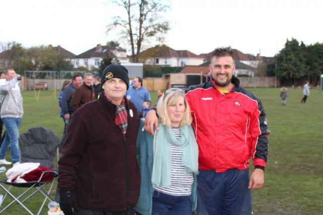 TRIBUTES: Dave 'Shakey' James (left), with with his wife Kate and son Dan