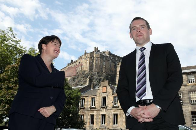 Douglas Ross and Ruth Davidson in front of Edinburgh Castle