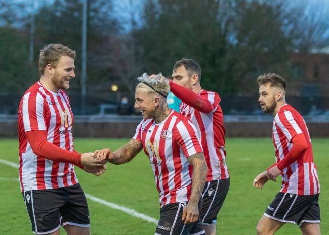 BACK WITH A BANG: Tom Ellis (pictured far left) and Mike Duffy (second left) scored the goals that earned Bridgwater Town victory over Royal Wootton Bassett Town in the FA Vase on Saturday (pic: Debbie Gould)