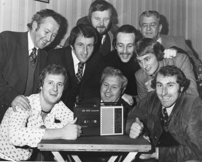 RADIO GAGA: Standing - Brian Hurford (trainer), Micky Burns (player), Albert Tudball (Social Club Committee), Alan Impey and Bobby Brown (players) with president Nolan Elston behind; sitting - Andy Leitch (player), Tony Milton (secretary), Bob Boyd