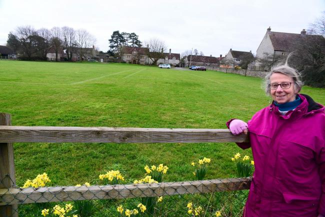 SAVE OUR GREEN SPACE: Judith Hurley at Kirkham Street Field, Somerton. Pic: Steve Richardson