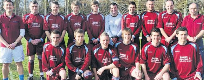 SQUAD: A team photo of Wyvern footballers, taken in February 2011