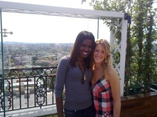 KATE with ex-T4 presenter June Sarpong in LA. PHOTO: Submitted