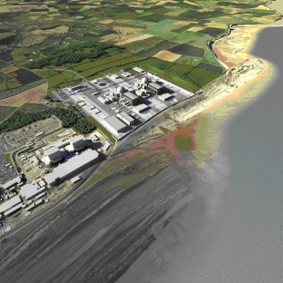 A computer generated image showing what Hinkley Point C could look like.