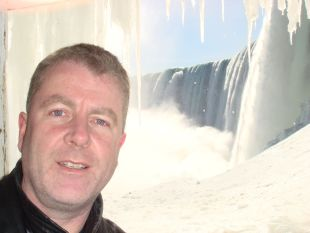 DAVE Coller, here pictured in front of the Niagara Falls, will be flying to the edge of space in a MiG29.
