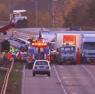 This is The West Country: Cars are removed from the scene of the multiple vehicle crash on the M5 motorway close to Taunton