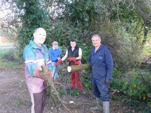 CLLR Roger Swann, volunteers Mike Dunn and Luke Dopson and 'Cap'n' Cllr John Pallister have been carrying out work on the Ilminster Canal. PHOTO: Jamie Brooks