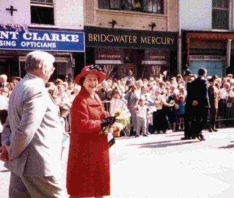 The Queen outside the Mercury offices in 1987
