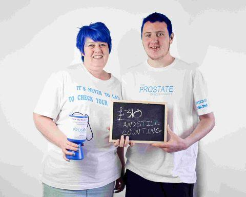 TRACY Dyer and her son Damon, who have dyed their hair blue to raise funds for the Prostate Cancer Charity. PHOTO: Jodie Anne Photography.