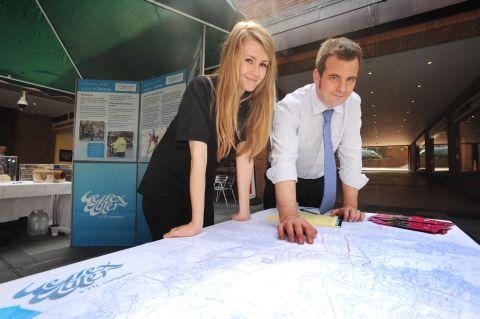 Lucy Piercey, of Wessex Water, with project manager Phil Luxton