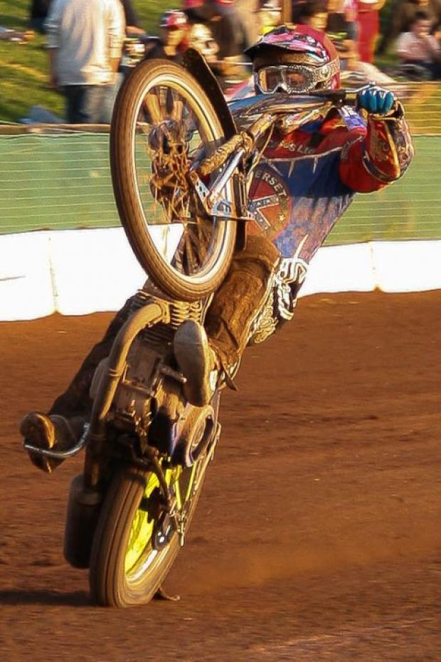 Jason Doyle celebrates a heat win against Ipswich Witches. PHOTO: Colin Burnett