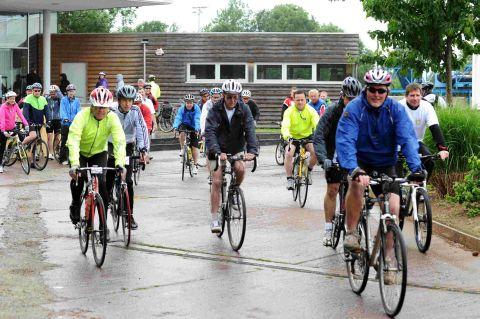 Riders brave the elements for Taunton's 50/50 Charity Cycle Ride