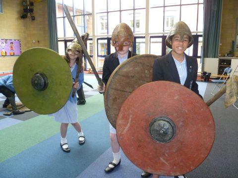 Swords and shields as Wellington pupils learn about the Viking days